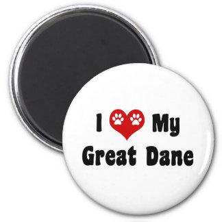 I Love My Great Dane 2 Inch Round Magnet