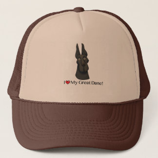 I love my Great Dane, Black Great Dane (crop) Trucker Hat