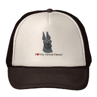 I Love my Great Dane; Blue cropped Trucker Hat