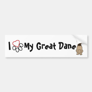 I Love My Great Dane Bumper Sticker
