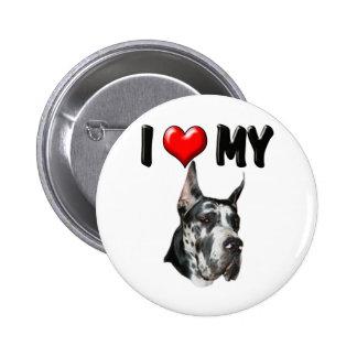I Love My Great Dane 2 Inch Round Button
