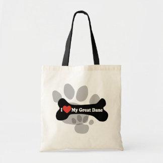 I Love My Great Dane  - Dog Bone Budget Tote Bag