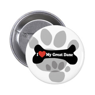 I Love My Great Dane  - Dog Bone Button