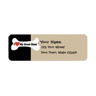 I Love My Great Dane  - Dog Bone Return Address Label