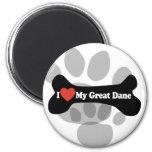 I Love My Great Dane  - Dog Bone Magnet