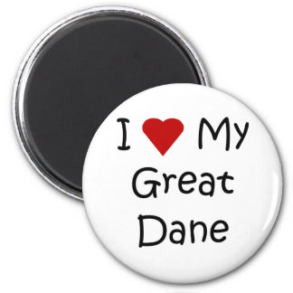 I Love My Great Dane Dog Breed Lover Gifts 2 Inch Round Magnet