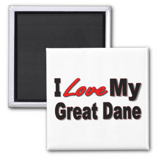 I Love My Great Dane Dog Gifts and Apparel 2 Inch Square Magnet