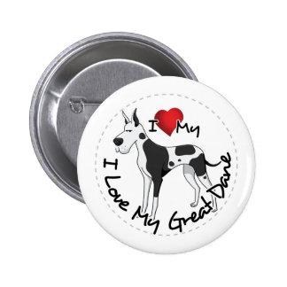 I Love My Great Dane Dog Pinback Button