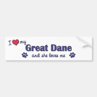 I Love My Great Dane Female Dog Bumper Sticker