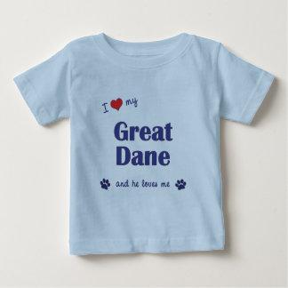 I Love My Great Dane (Male Dog) Tee Shirt