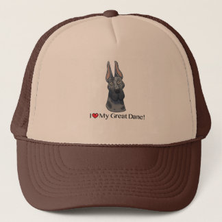 I Love my Great Dane; Merle cropped Trucker Hat