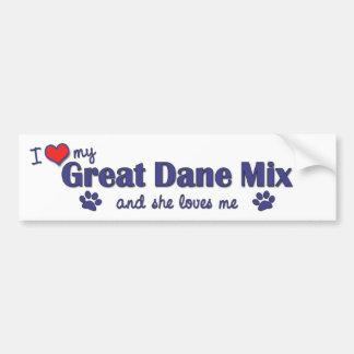I Love My Great Dane Mix Female Dog Bumper Sticker