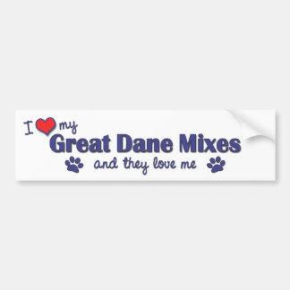 I Love My Great Dane Mixes (Multiple Dogs) Bumper Sticker
