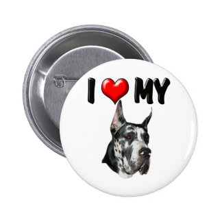 I Love My Great Dane Pinback Button
