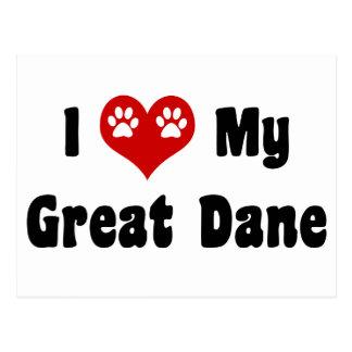 I Love My Great Dane Postcard