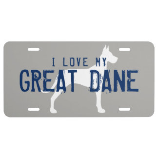 I Love My Great Dane Silhouette with Custom Text License Plate