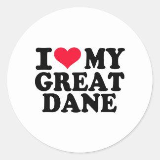 I love my Great Dane Round Sticker