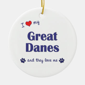 I Love My Great Danes (Multiple Dogs) Double-Sided Ceramic Round Christmas Ornament