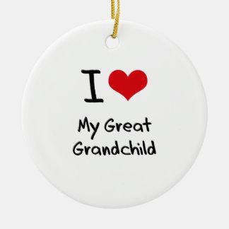I Love My Great Grandchild Ornaments