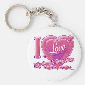 I Love My Great Grandma pink/purple - heart Basic Round Button Keychain