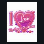 "I Love My Great Grandma pink/purple - heart Postcard<br><div class=""desc"">I Love My Great Grandma pink/purple - heart</div>"
