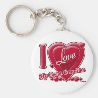 I Love My Great Grandma red - heart Basic Round Button Keychain