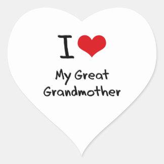 I Love My Great Grandmother Heart Sticker