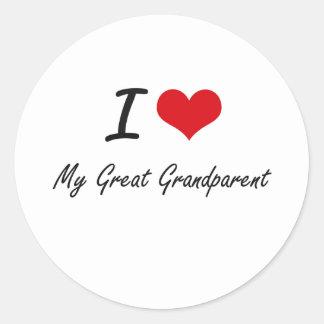I Love My Great Grandparent Classic Round Sticker