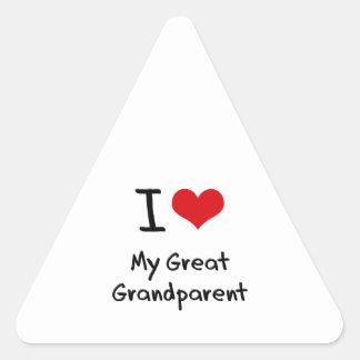 I Love My Great Grandparent Triangle Sticker