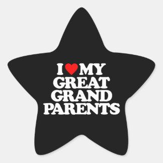 I LOVE MY GREAT GRANDPARENTS STAR STICKER