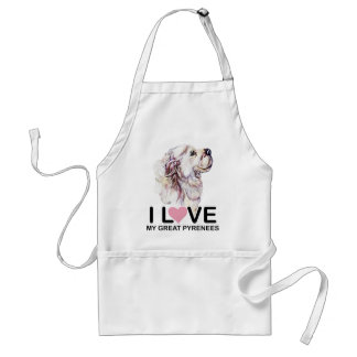 I Love My Great Pyrenees Adult Apron