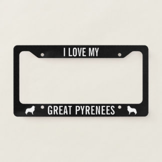 I Love My Great Pyrenees Custom License Plate Frame