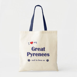 I Love My Great Pyrenees (Male Dog) Tote Bag