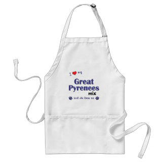 I Love My Great Pyrenees Mix (Female Dog) Adult Apron