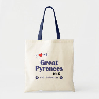 I Love My Great Pyrenees Mix (Female Dog) Tote Bag