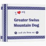 I Love My Greater Swiss Mountain Dog (Female Dog) 3 Ring Binders