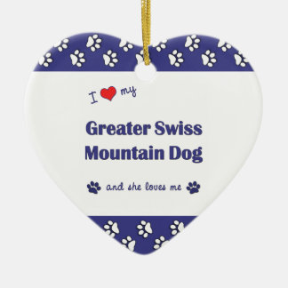 I Love My Greater Swiss Mountain Dog (Female Dog) Double-Sided Heart Ceramic Christmas Ornament
