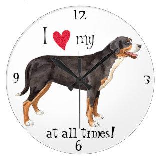 I Love my Greater Swiss Mountain Dog Large Clock