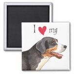 I Love my Greater Swiss Mountain Dog 2 Inch Square Magnet