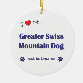 I Love My Greater Swiss Mountain Dog (Male Dog) Double-Sided Ceramic Round Christmas Ornament