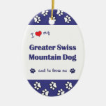 I Love My Greater Swiss Mountain Dog (Male Dog) Christmas Ornament