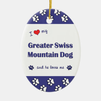 I Love My Greater Swiss Mountain Dog (Male Dog) Double-Sided Oval Ceramic Christmas Ornament