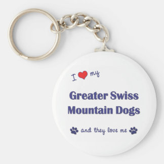 I Love My Greater Swiss Mountain Dogs (Multi Dogs) Basic Round Button Keychain
