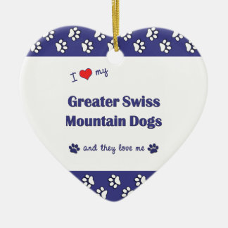 I Love My Greater Swiss Mountain Dogs (Multi Dogs) Double-Sided Heart Ceramic Christmas Ornament