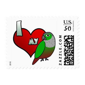 I Love my Green Cheeked Conure Postage Stamps