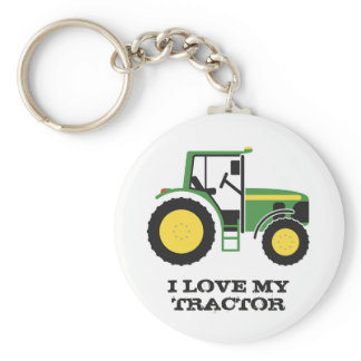I Love My Green Tractor Key Ring