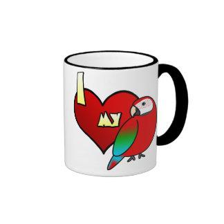I Love my Greenwing Macaw Ringer Coffee Mug