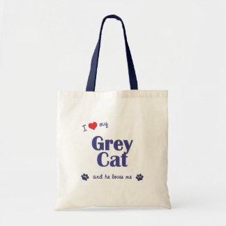 I Love My Grey Cat (Male Cat) Canvas Bags