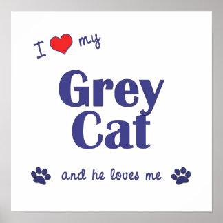 I Love My Grey Cat (Male Cat) Print