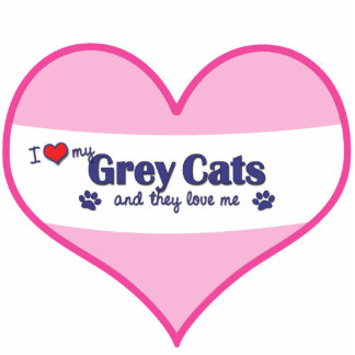 I Love My Grey Cats (Multiple Cats) Photo Sculpture Ornament